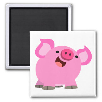 Cute Laughing Cartoon Pig 2 Inch Square Magnet
