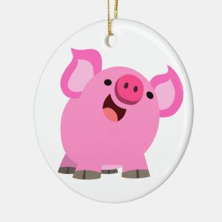 Cute Laughing Cartoon Pig Ceramic Ornament