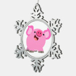 Cute Laughing Cartoon Pig Snowflake Pewter Christmas Ornament