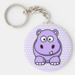 Cute Lavender Hippo Basic Round Button Keychain
