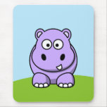 Cute Lavender Hippo Mouse Pad