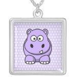 Cute Lavender Hippo Square Pendant Necklace