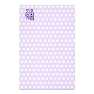 Cute Lavender Hippo Stationery