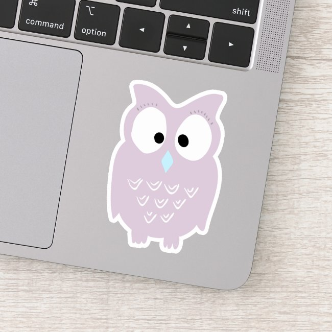 Cute Lavender Owl Cartoon - Contour