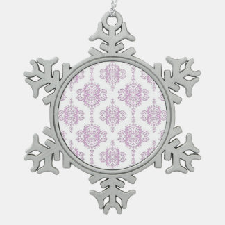 Cute Lavender Purple and White Damask Snowflake Pewter Christmas Ornament