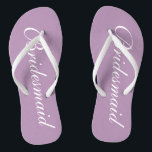 """Cute lavender purple bridesmaid wedding flip flops<br><div class=""""desc"""">Cute lavender purple wedding flip flops for bridesmaids. Custom background and strap color personalizable with name or monogram initials optional. Modern his and hers wedge sandals with stylish script calligraphy typography. Elegant party favor for beach themed wedding, marriage, bridal shower, engagement, anniversary, bbq, bachelorette, bachelor, girls weekend trip etc. Make...</div>"""