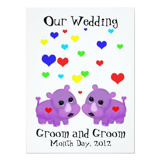 Cute Lavender Rhino Heart Two Grooms Gay Wedding Card