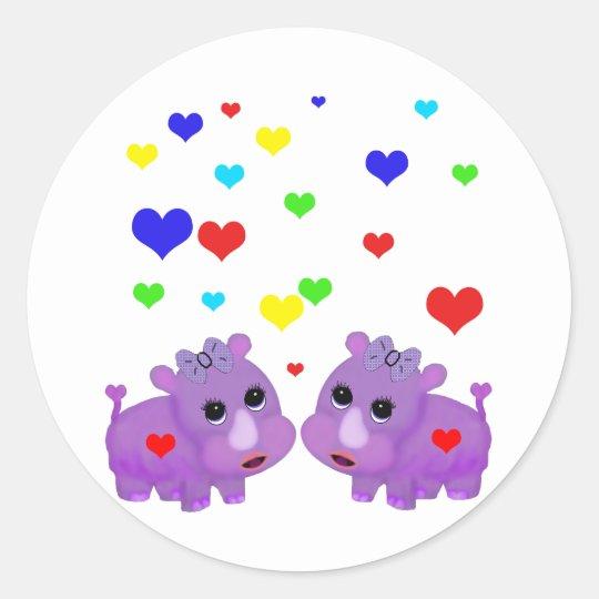 Cute Lavender Rhino Rainbow Heart Rhinoceros GLBT Classic Round Sticker