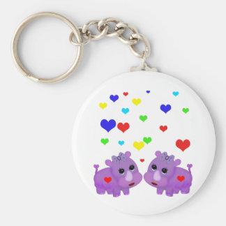 Cute Lavender Rhino Rainbow Heart Rhinoceros GLBT Keychain