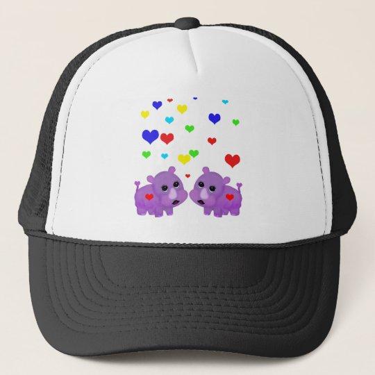Cute Lavender Rhino Rainbow Heart Rhinoceros GLBT Trucker Hat