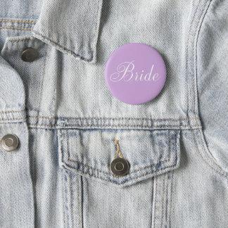 "Cute Lavender Script Typography ""Bride"" Pinback Button"