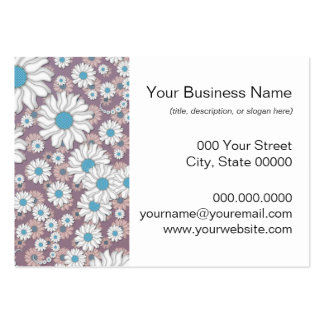 Cute Lavender White Blue Fantasy Daisies Large Business Cards (Pack Of 100)