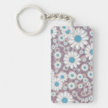 Cute Lavender White Blue Fantasy Daisies Rectangle Acrylic Key Chains