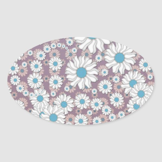 Cute Lavender White Blue Fantasy Daisies Oval Sticker