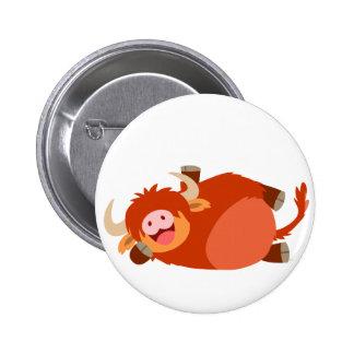 Cute  Lazy Cartoon Highland Cow Button Badge