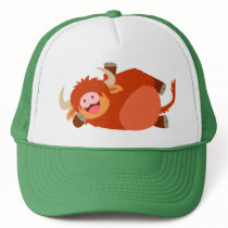 Cute  Lazy Cartoon Highland Cow Hat