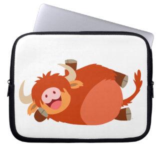 Cute  Lazy Cartoon Highland Cow Laptop Sleeve