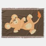 Cute Lazy Cartoon Lioness Throw Blanket