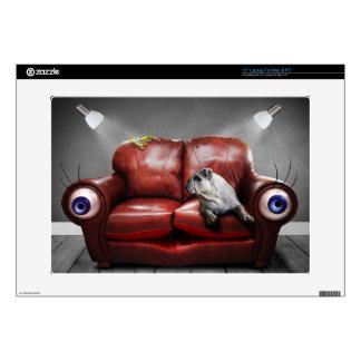 "Cute Lazy dog on sofa 15"" Laptop Skin"