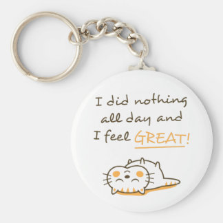Cute Lazy Kitty Cat Do Nothing All Day Keychain