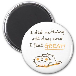 Cute Lazy Kitty Cat Do Nothing All Day Magnet