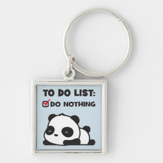 Cute Lazy Panda - To Do List - NOTHING - Funny Keychain
