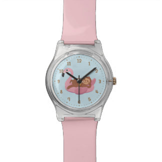 Cute Lazy Sloth On Pink Flamingo Float Girls Watch