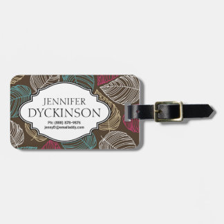 Cute Leaf Pattern Pink Brown Blue Personalized Travel Bag Tag