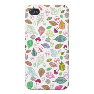 Cute leafs and mushroom pattern iphone case iPhone 4/4S covers