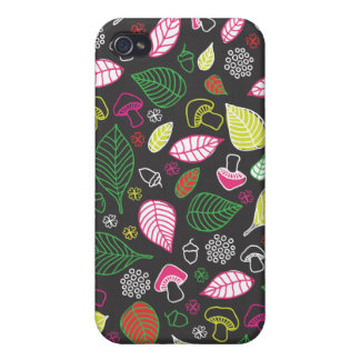 Cute leafs and mushroom pattern iphone case iPhone 4/4S cover
