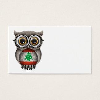 Cute Lebanese Flag Owl Wearing Glasses Business Card