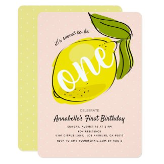 Cute Lemon 1st Birthday Baby Pink Party Invitation