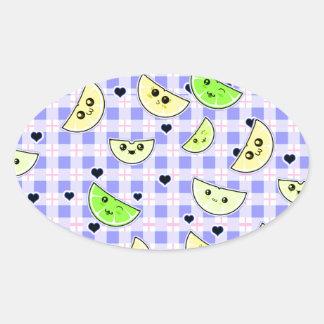 cute lemon lime design for teen girls oval sticker