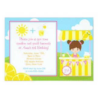 Cute Lemonade Design with Girl 5x7 Paper Invitation Card