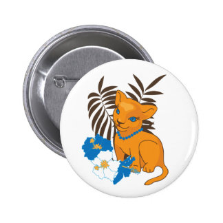 Cute Leo baby cartoon illustration Pinback Button