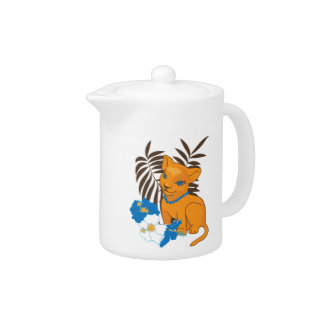 Cute Leo baby cartoon illustration Teapot
