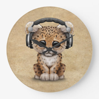 Cute Leopard Cub Dj Wearing Headphones Large Clock