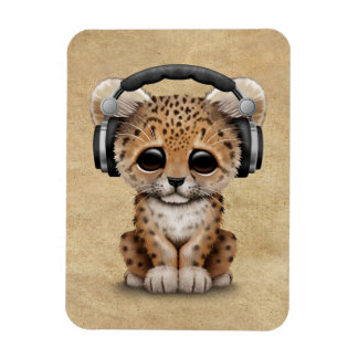 Cute Leopard Cub Dj Wearing Headphones Magnet