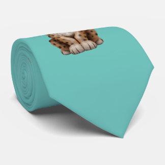 Cute Leopard Cub Dj Wearing Headphones Tie