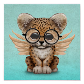 Cute Leopard Cub Fairy Wearing Glasses on Blue Poster