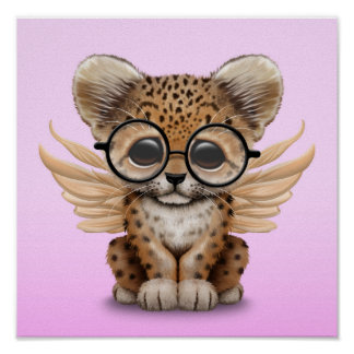 Cute Leopard Cub Fairy Wearing Glasses on Pink Poster