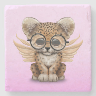 Cute Leopard Cub Fairy Wearing Glasses on Pink Stone Coaster