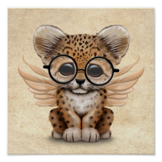 Cute Leopard Cub Fairy Wearing Glasses Poster