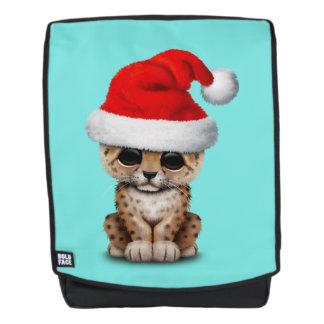 Cute Leopard Cub Wearing a Santa Hat Backpack