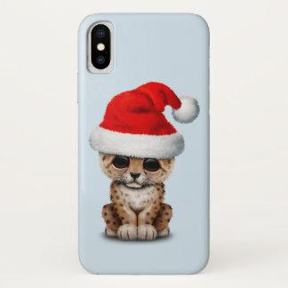 Cute Leopard Cub Wearing a Santa Hat iPhone X Case
