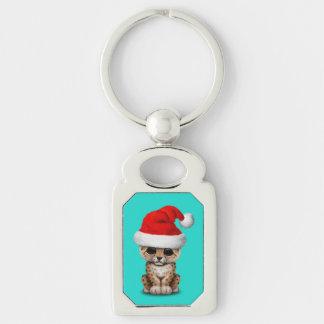 Cute Leopard Cub Wearing a Santa Hat Keychain