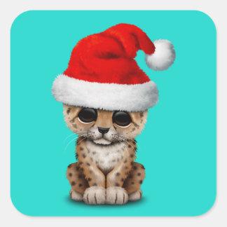 Cute Leopard Cub Wearing a Santa Hat Square Sticker