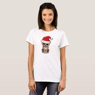 Cute Leopard Cub Wearing a Santa Hat T-Shirt