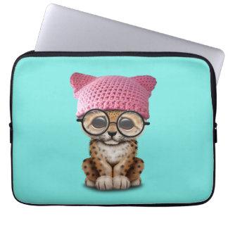 Cute Leopard Cub Wearing Pussy Hat Laptop Sleeve