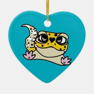 Cute Leopard Gecko Heart Double-Sided Heart Ceramic Christmas Ornament